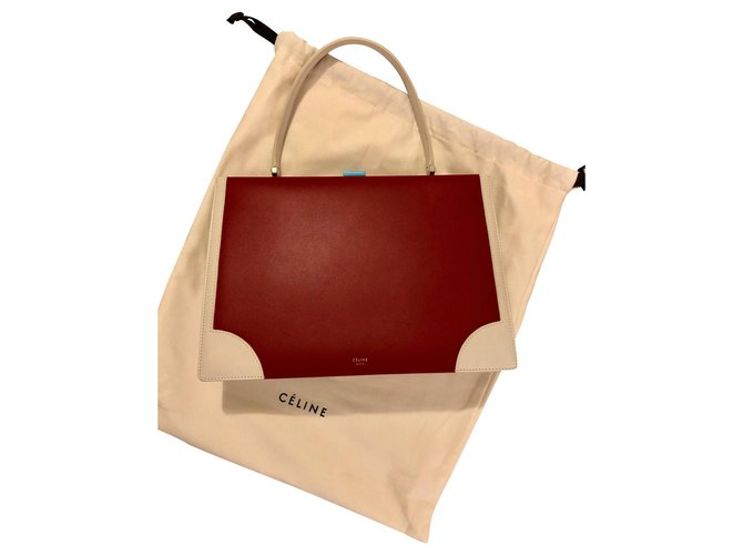 Céline Celine Clasp bag Handbags Leather White,Red ref.135596