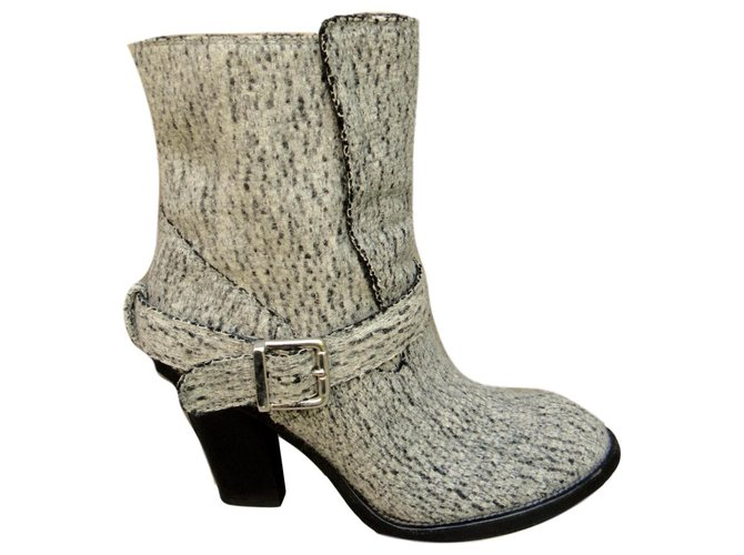 Chloé Chloé leather and felt boots Ankle Boots Leather,Wool Grey ref.135606