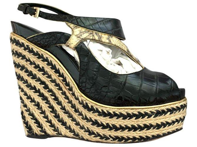 Christian Dior Dior leather wedge sandals Black Beige Golden Exotic leather  ref.135616