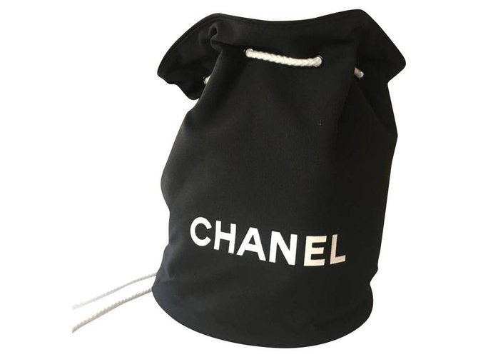 Chanel Chanel backpack Backpacks Cotton Black ref.135638