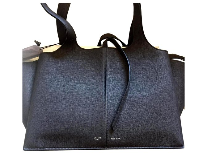 Céline celine trifold black handbag sac new Handbags Leather Black ref.135672