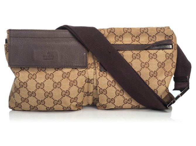 Pochettes Gucci Gucci Brown GG Jacquard Sac de ceinture Cuir,Autre,Tissu Marron,Kaki,Marron foncé ref.135787