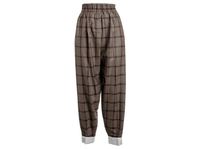 Céline Pants, leggings Pants, leggings Wool Brown ref.135809