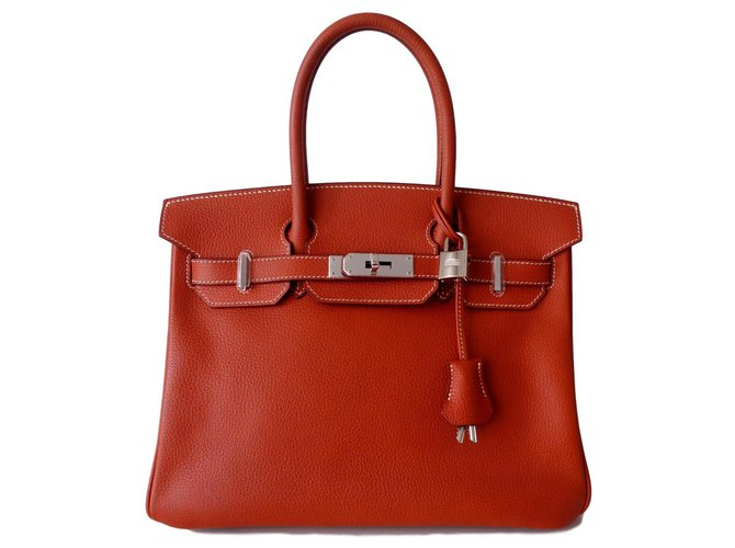 Hermès HERMES BIRKIN BAG 30 brick Handbags Leather Caramel,Copper ref.135814