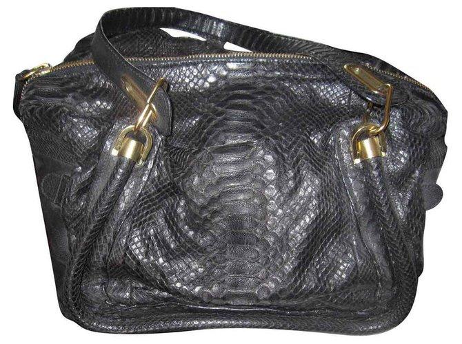 Chloé Paraty Handbags Python Black ref.135823