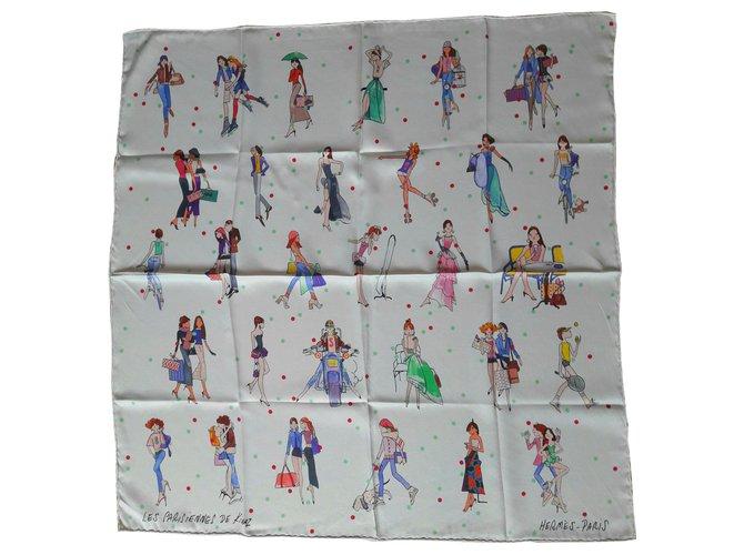 Hermès The Parisiennes of KIRAZ Silk scarves Silk White ref.136012