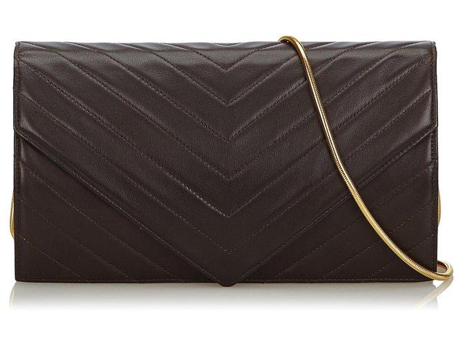 exceptional range of styles arriving sale retailer YSL Black Chevron Leather Chain Crossbody Bag