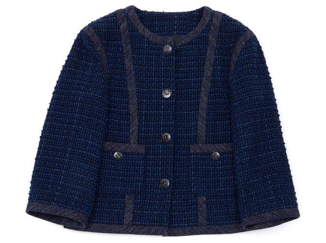 Chanel NAVY TWEED FR40/42 Jackets Tweed Navy blue ref.136267
