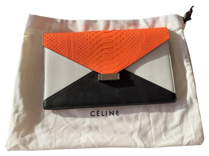 Céline Diamond clutch in orange python and black and white leather Céline Clutch bags Leather,Exotic leather,Python Black,White,Orange ref.136268