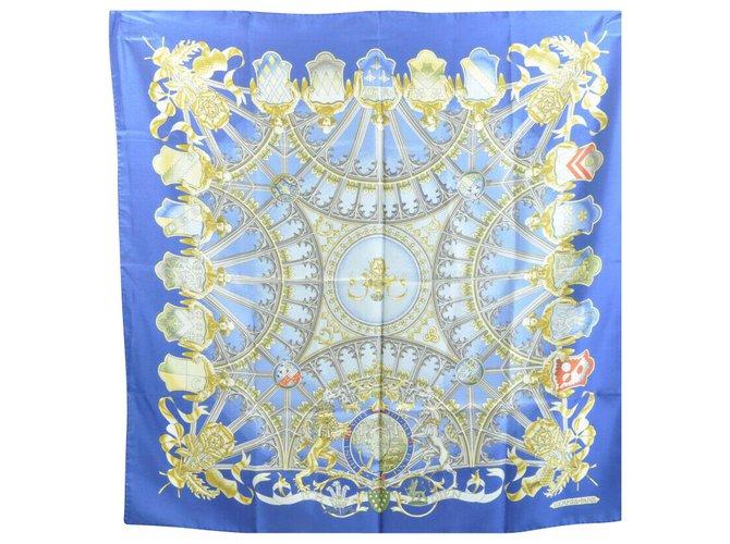 """Hermès Hermès Scarf """"ICH DIEN"""" Silk scarves Silk Blue ref.136294"""