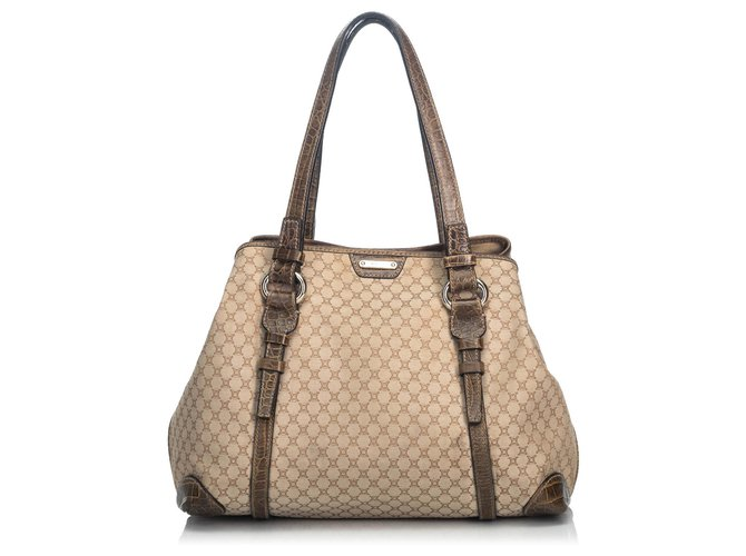 Céline Celine Brown Macadam Canvas Tote Bag Totes Leather,Other,Cloth,Cloth Brown,Beige ref.136300