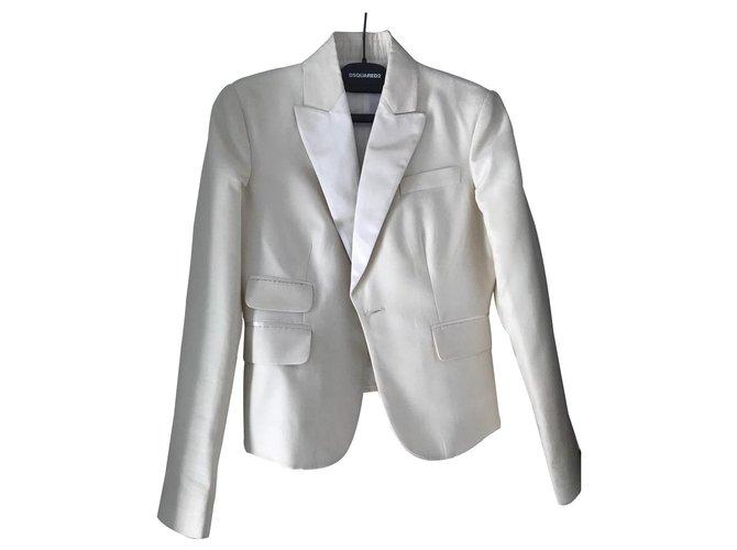 Manteaux Dsquared2 Manteaux, Vêtements d'extérieur Coton Crème ref.136325