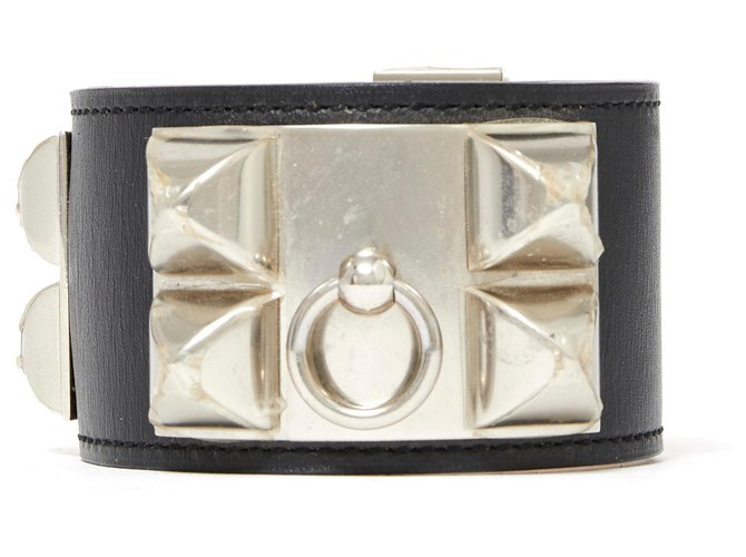 Hermès MEDOR CDC S BLACK SILVER NEW Bracelets Leather,Metal Black,Silvery ref.136354