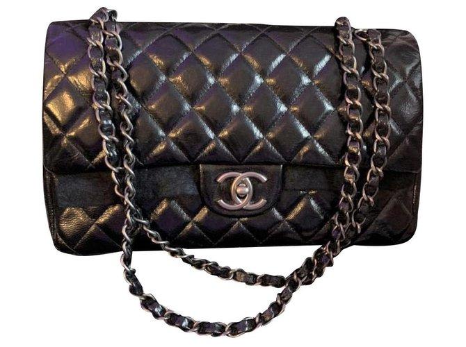Chanel Chanel Black medium glazed calf leather classic flap bag Handbags Leather Black ref.136395