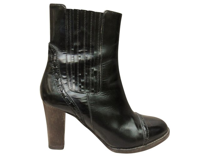 Chloé Chloe botines Ankle Boots Leather Black ref.136440