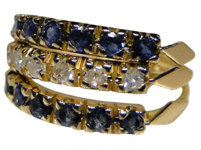 Bagues Bague 3 anneaux Or jaune 18 cts Saphir et Diamants Or jaune Bleu,Doré ref.136442