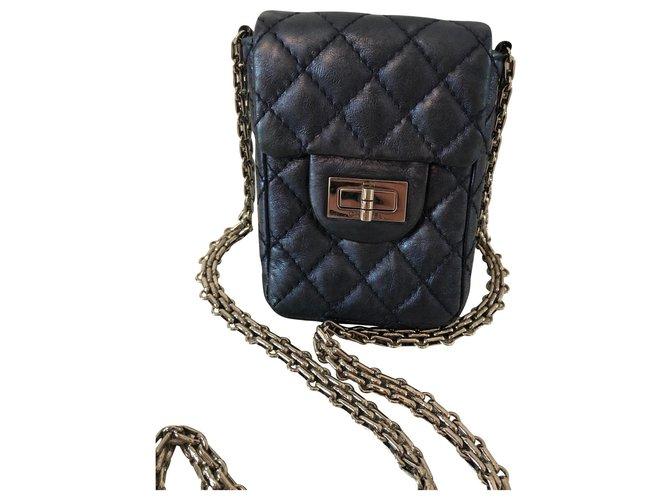 Chanel mini Handbags Leather Blue,Dark blue ref.136463