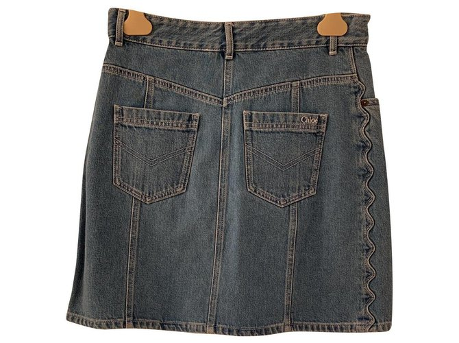 Chloé New Chloé denim skirt with label Skirts Denim Blue ref.136615