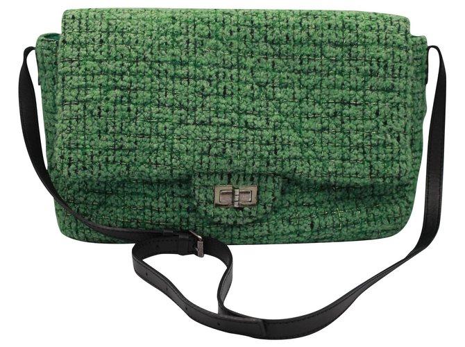 Sacs à main Chanel Sacs à main Tweed Vert ref.136657