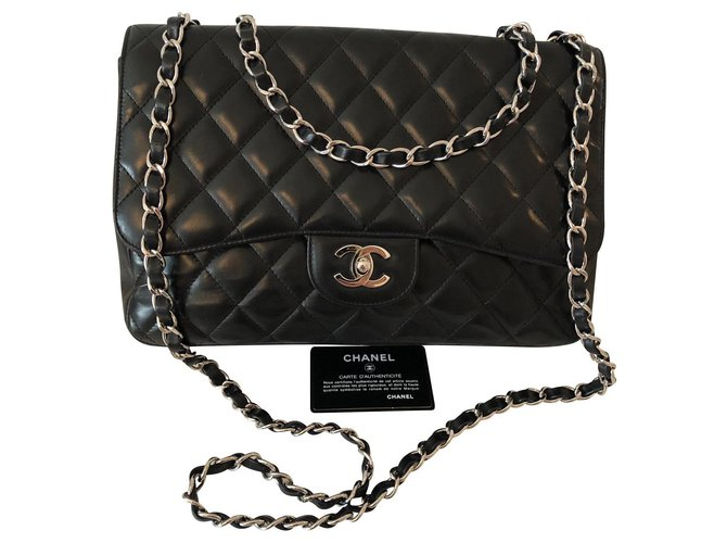 Chanel Jumbo Handbags Leather Black ref.136666