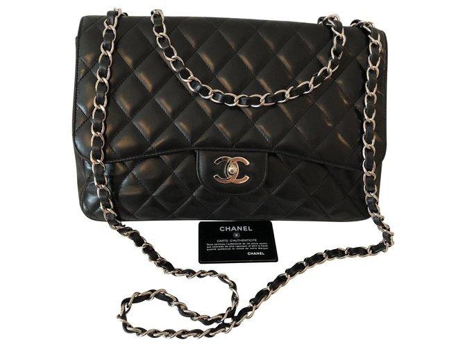 Sacs à main Chanel Jumbo Cuir Noir ref.136666