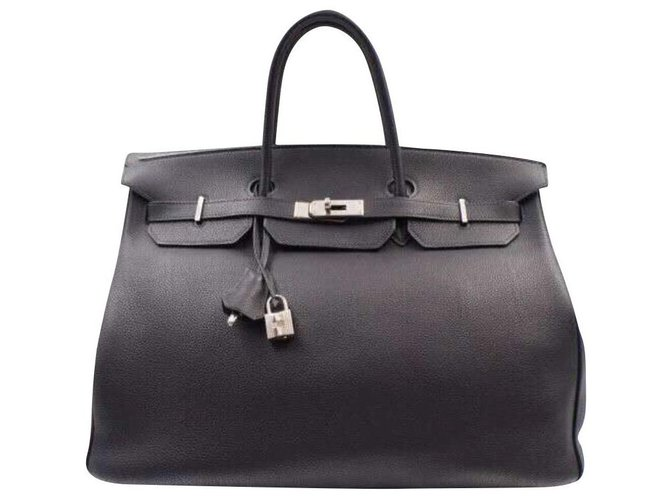 Hermès Handbag Handbags Leather Navy blue ref.136701
