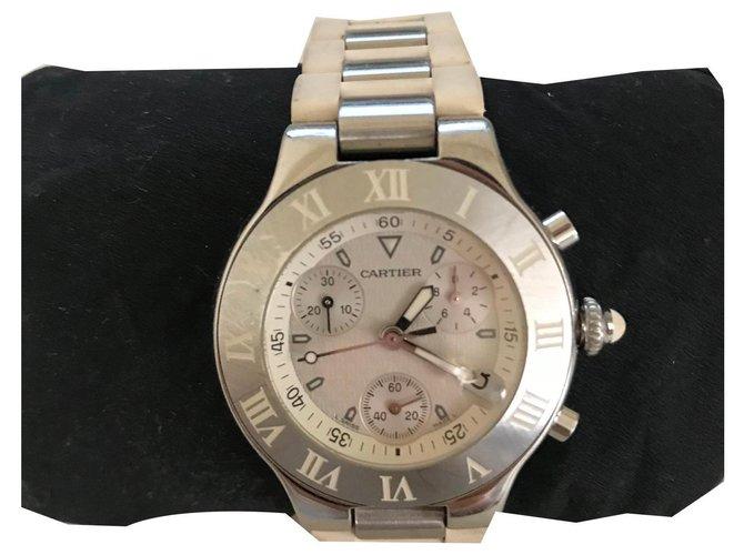 Cartier Cartier Chronoscaph Watch Fine watches Steel Silvery,White,Metallic ref.136860