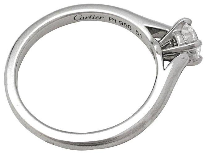 """Bagues Cartier Bague solitaire Cartier """"1895"""" en platine, 0,40 carat H/VS2. Autre,Platine Autre ref.136875"""