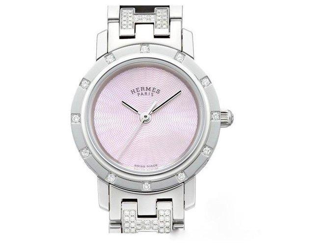Hermès WATCH HERMES CLIPPER DIAMONDS Fine watches Steel Pink,Grey ref.136881