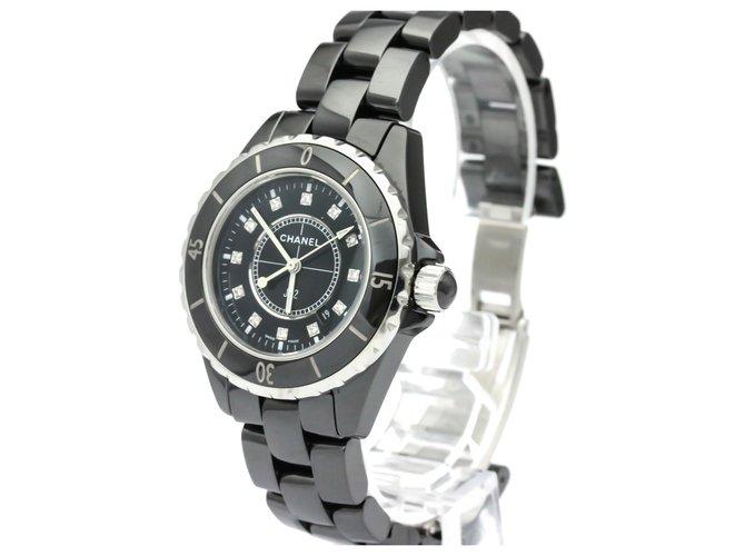 Chanel Chanel black Ceramic J12 Quartz H1625 Fine watches Other,Metal Black,Silvery ref.136939