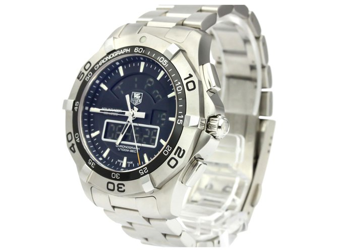 Tag Heuer Tag Heuer Silver Stainless Steel Aquaracer Quartz CAF1010 Fine watches Steel,Metal Black,Silvery ref.136947
