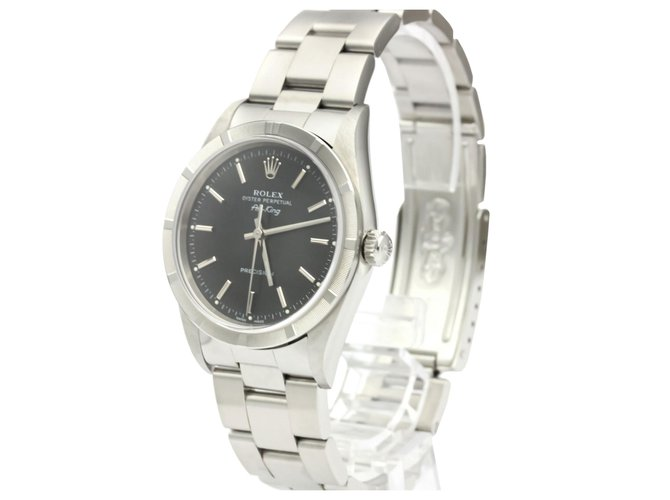 Rolex Rolex Silver Stainless Steel Airking Automatic 14010 Fine watches Steel,Metal Black,Silvery ref.137002