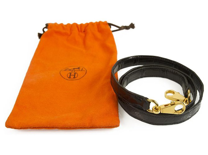 Hermès Hermes Kelly Crocodile Leather with Gold Hardware Strap in excellent condition Bag charms Exotic leather Black ref.137100