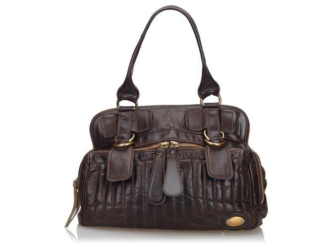 Chloé Chloe Brown Leather Bay Handbag Handbags Leather,Other Brown,Dark brown ref.137136