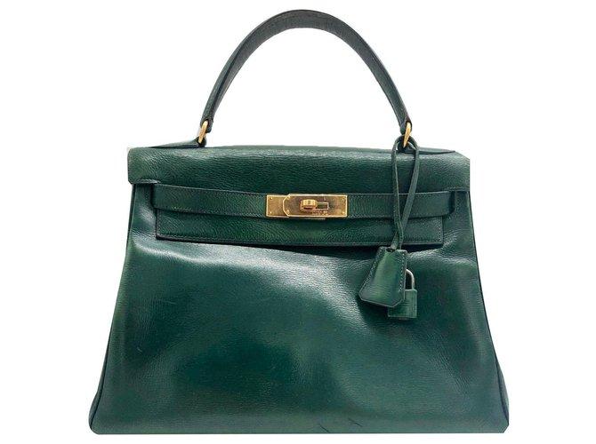 Sacs à main Hermès Très rare boîte sapin verte Hermes Kelly 28 sac en cuir cm Cuir Vert ref.137190
