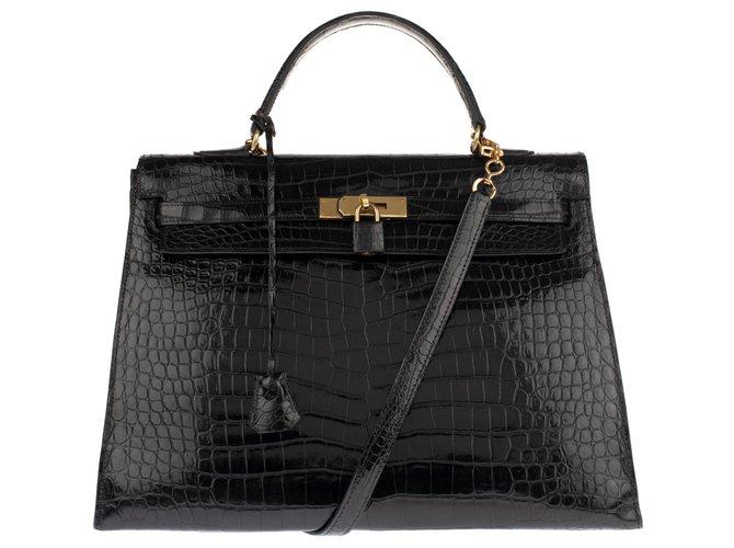 Sacs à main Hermès Superbe Hermès Kelly 35 bandoulière en Crocodile Porosus noir en très bon état! Cuirs exotiques Noir ref.137193