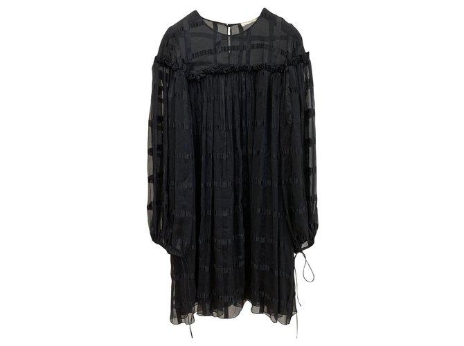 Chloé Black silk chiffon dress Dresses Silk Black ref.137243