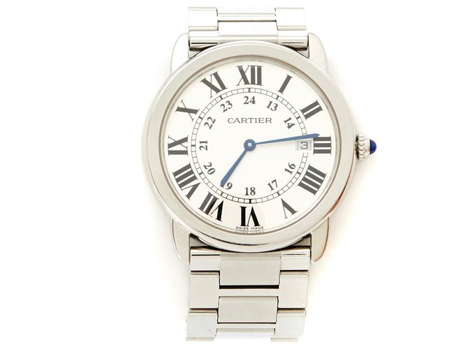 Cartier TANK SOLO ROUND 36 Fine watches Steel Silvery ref.137294