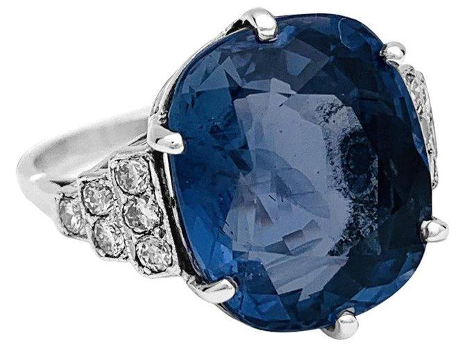 Sapphire ring, Platinum, white gold and diamonds. Rings White gold,Other,Platinum Other ref.137330