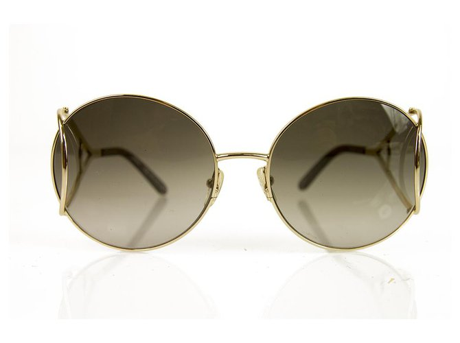 c3ffb85a Chloe CE124S 736 Brown Gradient Gold Tone Metal Sunglasses Round Frame