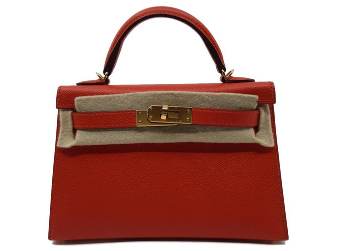 Hermès Mini Kelly II Handbags Leather Orange ref.137440