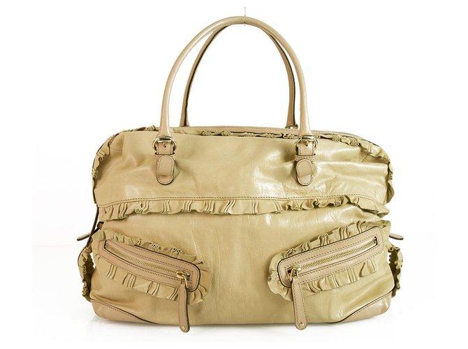 1b93639bb8f GUCCI Nude Leather Sabrina Boston Bag Satchel HandBag with ruffle details