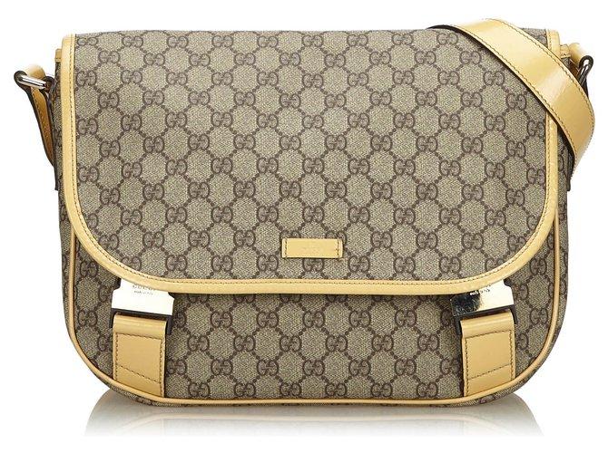 Gucci Gucci Gray GG Supreme Crossbody Bag Handbags Leather,Cloth
