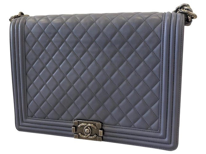 Chanel CHANEL LAVENDER BLUE QUILTED LAMBSKIN LEATHER XL LARGE BOY BAG Handbags Lambskin Lavender ref.138293