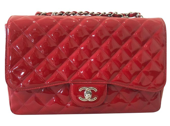 Chanel CHANEL RED PATENT QUILTED JUMBO LARGE SINGLE FLAP BAG Handbags Patent leather Red ref.138296