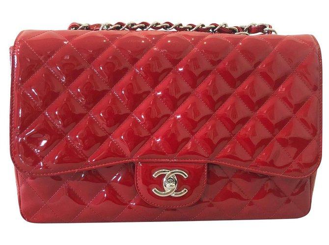 Sacs à main Chanel GRAND SAC REMBOURRÉ JUMBO POUR BREVET ROUGE CHANEL Cuir vernis Rouge ref.138296