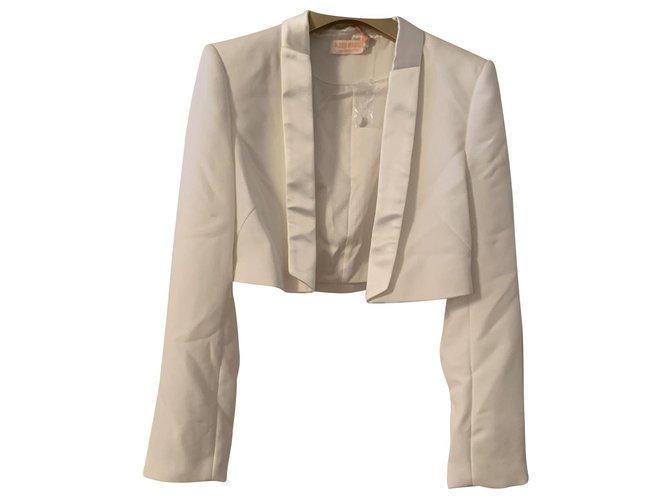 Alexis Mabille white tuxedo short jacket for Monoprix Eggshell Polyester  ref.138784