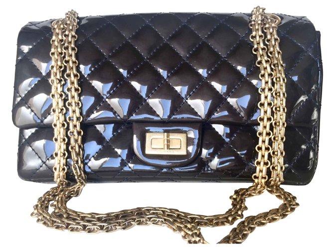 Sacs à main Chanel Chanel 2.55 Cuir vernis Bleu Marine ref.138833
