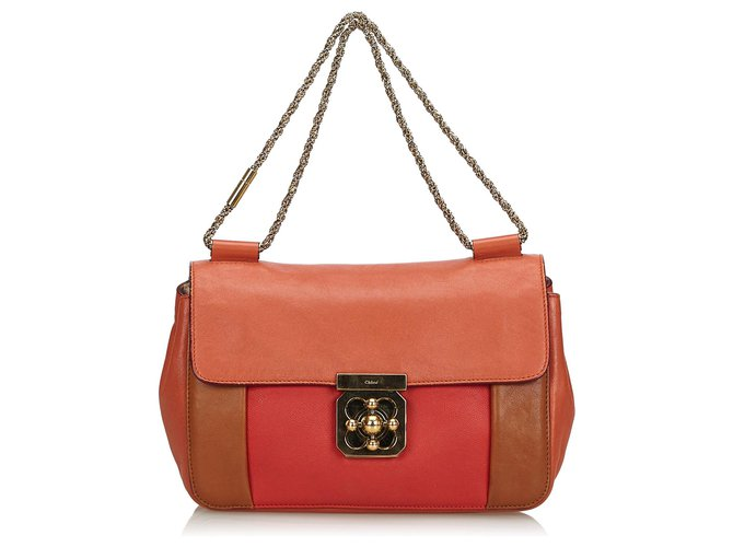 Chloé Chloe Orange Tricolor Leather Elsie Shoulder Bag Handbags Leather,Other Multiple colors,Orange ref.139056