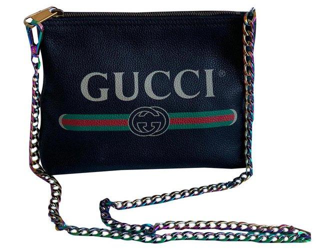 Pochettes Gucci Pochettes Cuir Noir ref.139079